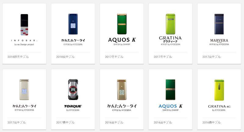 auのケータイガラホ全10種の発売日順