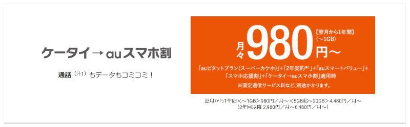 ケータイ→auスマホ割で最安月額980円
