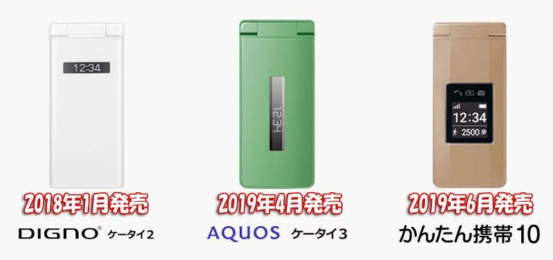 ソフトバンクの定番ガラケー「AQUOSケータイ3」「DIGNOケータイ2」「かんたん携帯10」