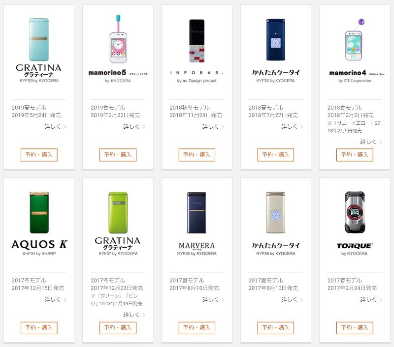 auのケータイガラホ全10種の発売日順(2019年版)