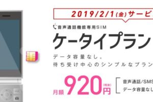 IIJmioのケータイプランは月額920円で利用可能