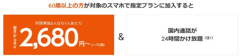 auの60歳以上対象機種で永年1,000円割引の『新カケホ割60』の説明図