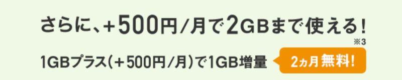 スマホデビュープランでは+500円で1GBが追加可能(2か月間無料)